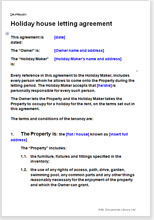 Sample page from the holiday house letting agreement