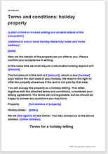 Sample page from the holiday property terms