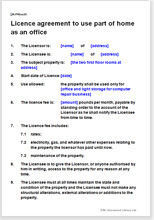 Sample page from the licence to use part of home as an office
