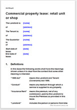 Sample page from the commercial property lease of a retail unit or shop