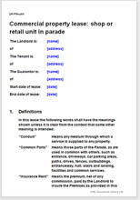 Sample page from the commercial property lease of a shop or retail unit in parade