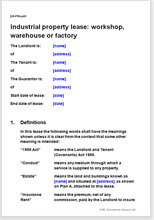 Sample page from the industrial property lease of a workshop, warehouse or factory