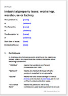 First page of the industrial property lease of a workshop, warehouse or factory