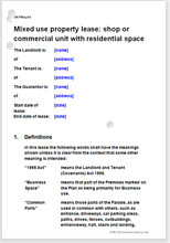 Sample page from the mixed use property lease of shop or commercial unit with residential space
