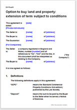 Sample page from the property option agreement with extension of term