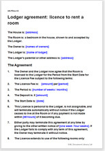 Sample page from the lodger agreement