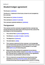 Sample page from the student lodger agreement
