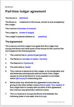 Sample page from the part-time lodger agreement