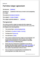 First page of the part-time lodger agreement