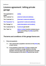 Sample page from the garage licence agreement