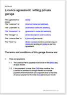 First page of the garage licence agreement