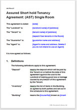 Sample page from the AST agreement for a single room