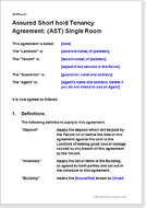 First page of the AST agreement for a single room