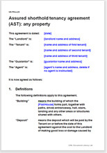 Sample page from the AST agreement