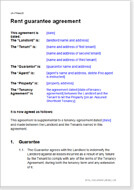 First page of the rent guarantee agreement