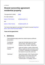 Sample page from the property joint ownership agreement