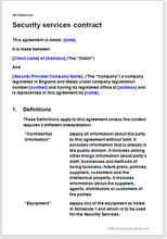 Sample page from the security services contract