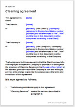 Sample page from the cleaning agreement