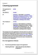 First page of the cleaning agreement
