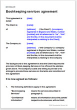 Sample page from the bookkeeping agreement