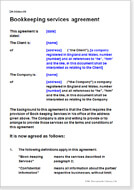 First page of the bookkeeping agreement