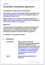 Sample page from the corporate consultancy agreement