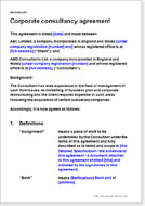 First page of the corporate consultancy agreement