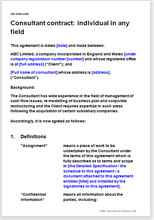 Sample page from the consultancy agreement