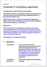 Sample page from the corporate it consultancy agreement