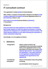 Sample page from the IT consultant contract