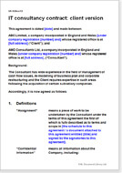 First page of the IT consultancy agreement for a client
