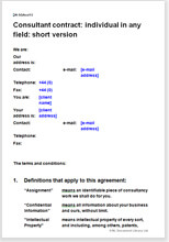 Sample page from the short consultancy agreement