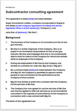 Sample page from the subcontractor consultancy agreement