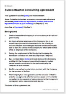 First page of the subcontractor consultancy agreement