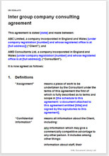 Sample page from the inter group consultancy contract