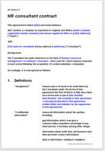 Sample page from the HR consultancy agreement