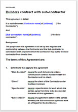 Sample page from the builder and subcontractor agreement