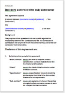 First page of the builder and subcontractor agreement