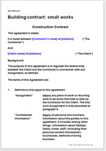 Sample page from the building small works contract