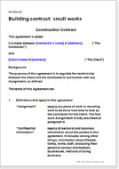 First page of the building small works contract