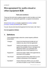Sample page from the b2b equipment hire agreement