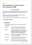 First page of the b2b equipment hire agreement