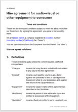 Sample page from the equipment hire agreement
