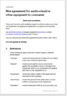 First page of the equipment hire agreement