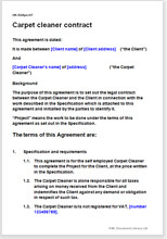Sample page from the carpet cleaner contract