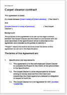 First page of the carpet cleaner contract