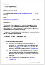 Sample page from the tutor contract