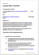 Sample page from the carpet fitter contract