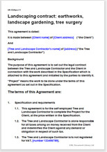 Sample page from the landscaping contract