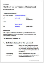 Sample page from the self employed contract for services